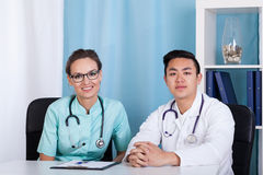Diverse doctors in the office Stock Photos