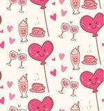 Diverse drank met roze hartballon op kawaiiachtergrond stock illustratie
