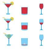 Diverse dranken volledige en lege pictogrammen geplaatst eps10 Stock Fotografie