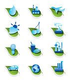 Diverse ecological icons set Royalty Free Stock Images