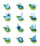 Diverse ecologische geplaatste pictogrammen Royalty-vrije Stock Afbeeldingen