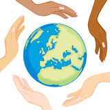 Diverse Ecology Globe Hands Royalty Free Stock Photography