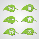 Diverse ecology leaf icons. Set of diverse ecology leaf icons Stock Illustration