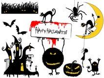 Diverse Elementen van het Ontwerp van Halloween Stock Afbeeldingen