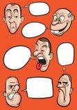 Diverse emotiegezichten met de vectorinzameling van toespraakballons Royalty-vrije Stock Foto's