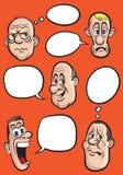 Diverse emotiegezichten met de vectorreeks van toespraakballons Stock Afbeelding