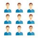 Diverse emotiesillustratie Stock Afbeeldingen