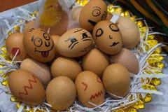 Diverse emotionele eieren stock foto