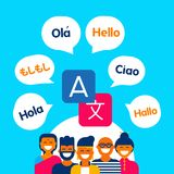 Diverse ethnic people group using translation app. Diverse ethnic group of friends talking in different languages on translation service app. Modern flat art Royalty Free Stock Photo