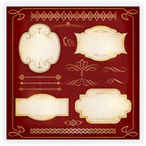 Diverse etiketten en kalligrafische ontwerpelementen Royalty-vrije Stock Afbeeldingen