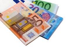 Diverse euro munt factureert geïsoleerde ventilator Royalty-vrije Stock Foto