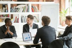 Diverse executive business team discussing work results at corpo royalty free stock photos