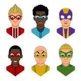 Diverse faces of super heroes Stock Image