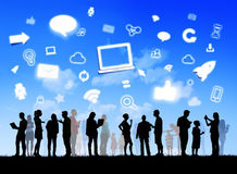 Diverse Families with Social Networking and Symbols Royalty Free Stock Images