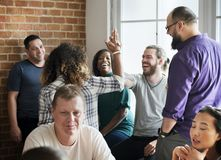 Diverse friends gathering together cheerful royalty free stock photo