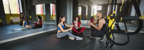 Diverse friends in sportswear resting in the gym stock photography