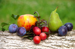 Diverse fruit. Plum, pear, apple on a wooden floor stock image