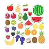 Diverse fruitinzameling Vectorvruchten geplaatste beeldverhalen Fruit clipart royalty-vrije illustratie