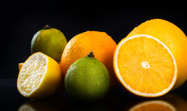 Diverse fruits. Isolated on blackbackground Royalty Free Stock Images
