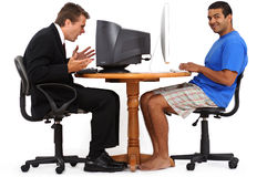 Diverse frustrated and happy men on computers Stock Images