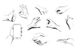 Diverse geïsoleerde gebaren van menselijke handen stock illustratie
