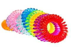 Diverse geïsoleerde spiraalvormige haarbanden Royalty-vrije Stock Afbeeldingen