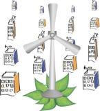 diverse geïsoleerde windturbines Royalty-vrije Illustratie