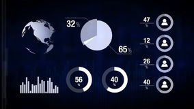 Diverse Geanimeerde Infographics-Grafieken als Technologie, Wetenschaps, Bedrijfs, Financiën of Economieachtergrond stock illustratie