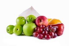 Diverse, geassorteerde fruitkokosnoot, appel, jujube, sinaasappel, druif, Stock Foto's