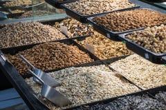 Diverse gebakken zaden en noten Royalty-vrije Stock Fotografie