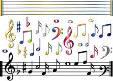 Diverse geplaatste muzieknota's Stock Fotografie