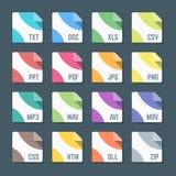 Diverse geplaatste pictogrammen van het dossierformaten van de kleuren vlakke stijl minimale Royalty-vrije Stock Foto