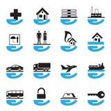Diverse geplaatste verzekeringspictogrammen Royalty-vrije Stock Afbeelding