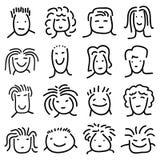 Diverse gezichten van krabbelmensen Vector Illustratie
