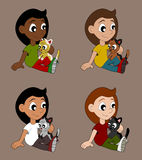 Diverse girls with cats cartoon Royalty Free Stock Photo