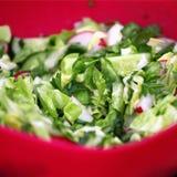 Diverse groene groenten, salade in rode plaat Stock Foto's
