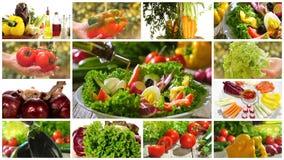 Diverse groenten en gemengde salademontering stock videobeelden
