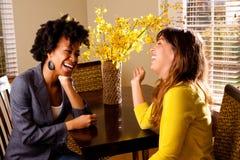 Diverse groep en vrienden die spreken lachen Royalty-vrije Stock Foto