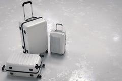 Diverse grootte van witte luggages Stock Foto's