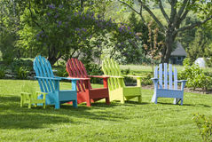 Diverse Group of Adirondack Chairs Royalty Free Stock Photo