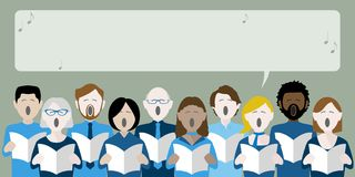 Diverse group of adults choir singing stock illustration
