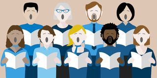 Diverse group of adult choir singers Royalty Free Illustration