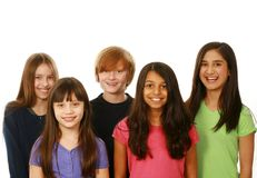 Diverse group of boys and girls. Diverse group of kids smiling on white background Stock Photos