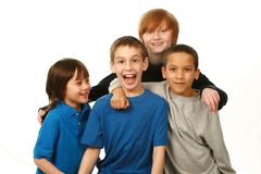 Diverse group of boys. Diverse group of happy boys on white background Stock Photography