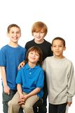 Diverse group of boys. Diverse group of happy boys on white background Royalty Free Stock Photos