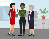 Diverse group of businesswomen of different ethnicity and age at office. vector illustration
