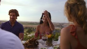 Raising toasting for the great times together. Diverse group of celebrating with wine at dinner party. Young men and women raising a toast while sitting around a stock footage