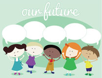 A Diverse Group of Children. Happy and smiling kids with speech bubbles for text Vector Illustration