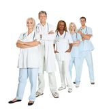 Diverse group of doctors isolated on white Royalty Free Stock Photography