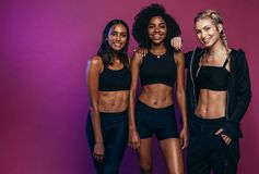 Diverse group females in sportswear royalty free stock photos